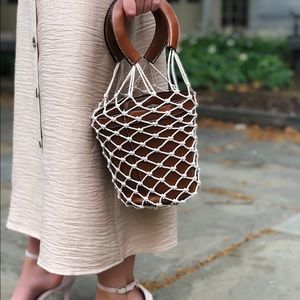 🆕Willa Brown Woven Rope Net Bucket Bag